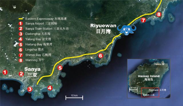 Map of Riyue Bay in Hainan Island